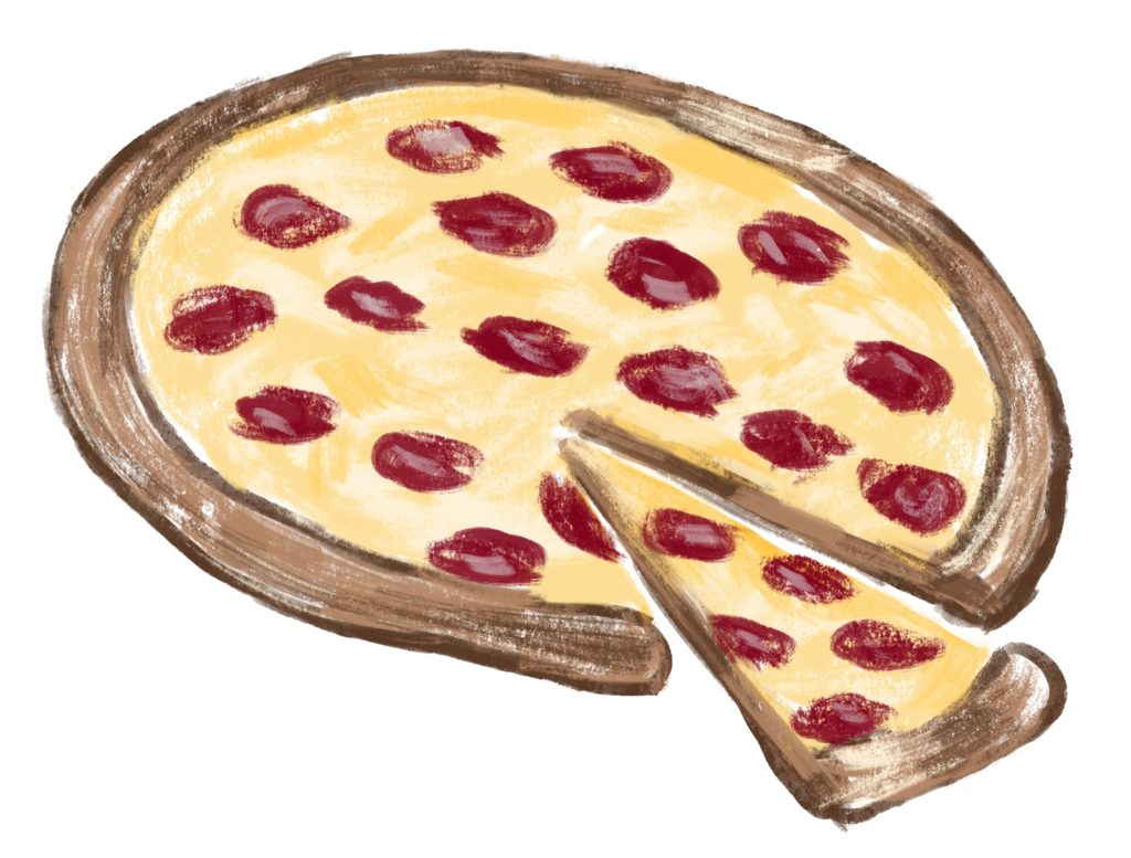 Lighthearted sketch of a pepperoni pizza. (Sandi Troup)